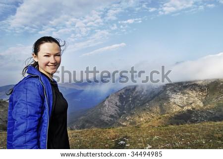 Cute Female Hiker - stock photo