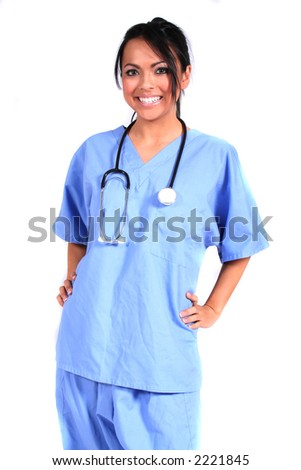 Cute Female Nurse, Doctor, Medical Worker for any generic medical setting - stock photo