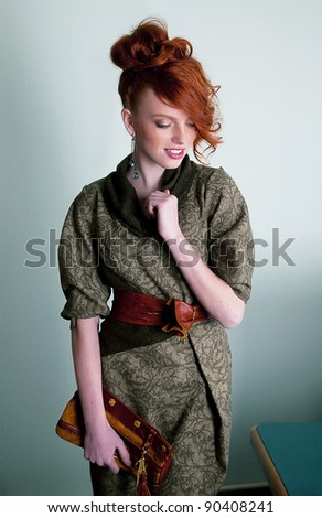 Cute female - sensual gentle redhead fashion model posing - series of photos - stock photo
