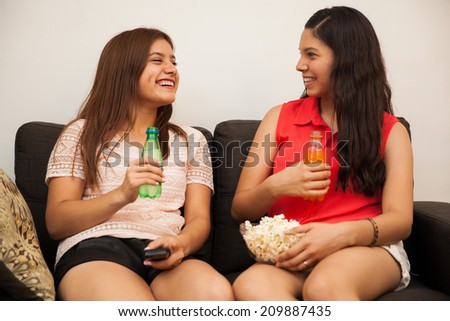 Cute Teens cute female teens hanging out home stock photo 209887435
