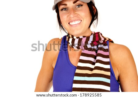 cute female with striped scarf around neck - stock photo