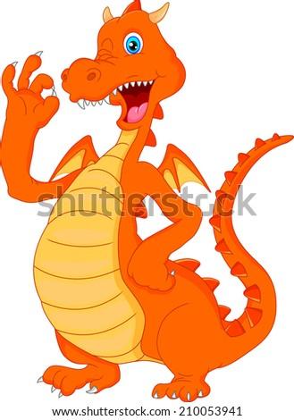 cute fire dragon cartoon waving - stock photo