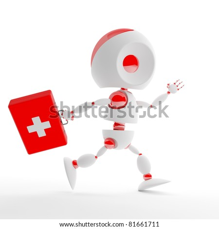 Cute first aid kit robot - stock photo