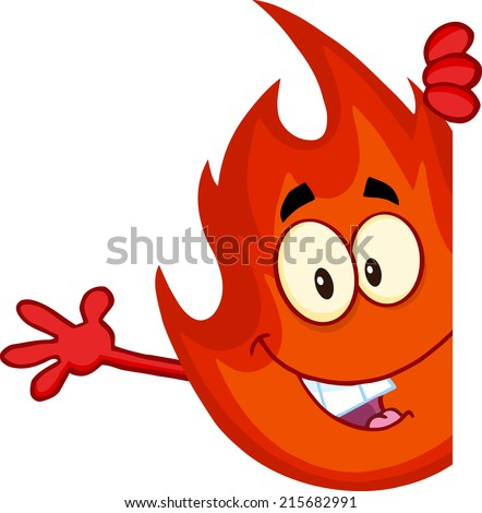 Cute Flame Cartoon Mascot Character Looking Around A Blank Sign And Waving. Raster Illustration  - stock photo