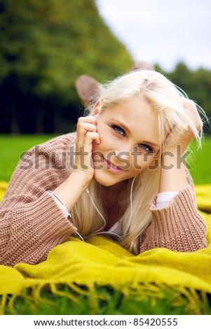 Cute flirting look in park - stock photo