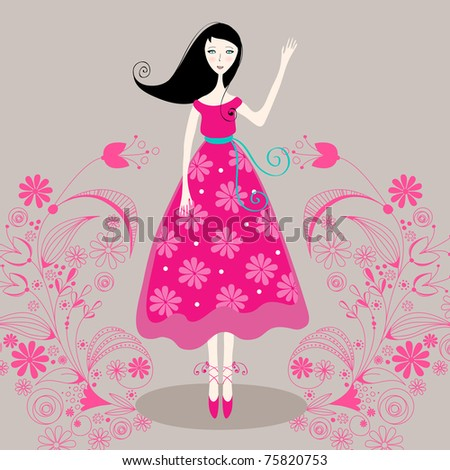 Cute floral girl - summer illustration - stock photo