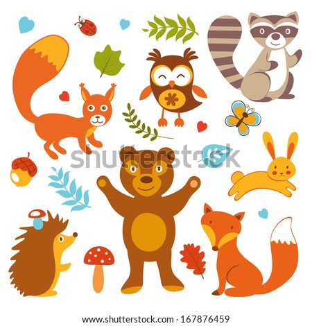 Cute forest animals collection - stock photo