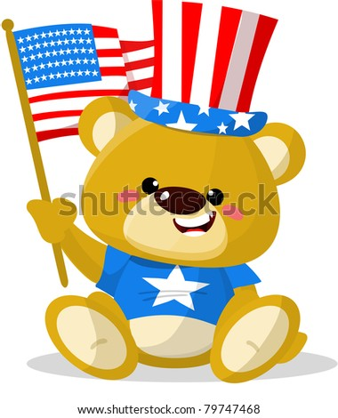 Cute fourth of July patriotic bear - stock photo
