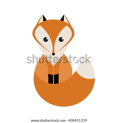 Cute Fox. Raster version - stock photo