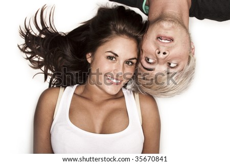cute friends laughing - stock photo