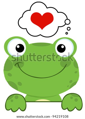 Cute Frog Over A Sign Board And Speech Bubble With Heart - stock photo