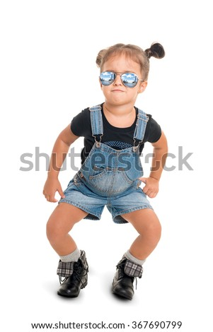 Cute funny  and stylish baby girl  with sunglasses .Isolated - stock photo