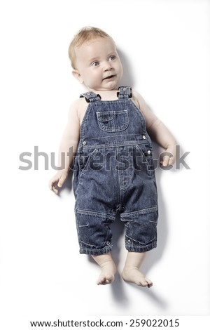 cute funny baby portrait - stock photo