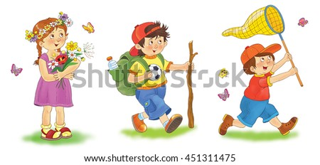 Cute funny kids enjoying their summer vacations. A pretty girl with flower wreath on her head, a hiker and a boy catching butterflies with a net. Illustration for children. Funny cartoon characters.