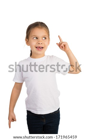Cute funny little girl showing an expression of satisfaction, as she discovered or found something, by rising her index finger - stock photo