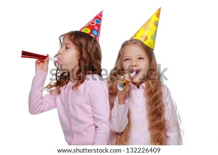 Cute funny little girls at the party