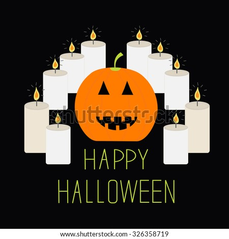 Cute funny pumpkin. Candle pyramid. Halloween card. Flat design - stock photo
