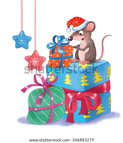 Cute funny rat and sparrow wearing Christmas caps are enjoying their Christmas presents. New Year. Christmas decoration. Illustration for children. Cartoon characters. Greeting card. Isolated on white - stock photo