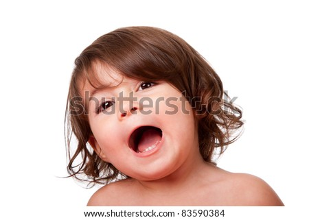 Cute funny singing baby toddler, yelling or screaming of happiness, with mouth open, isolated. - stock photo