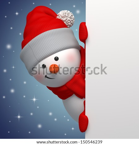cute funny snowman holding white page, 3d character, hiding behind the corner - stock photo