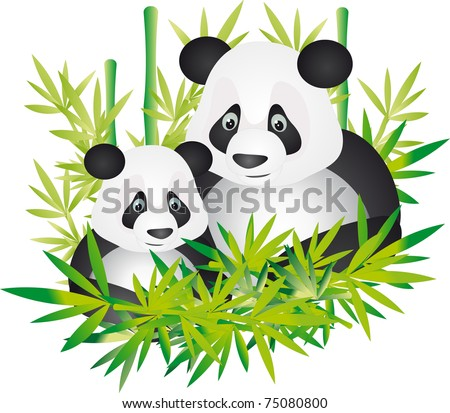 Cute giant panda and baby sitting between the bamboo in china. Illustration - stock photo
