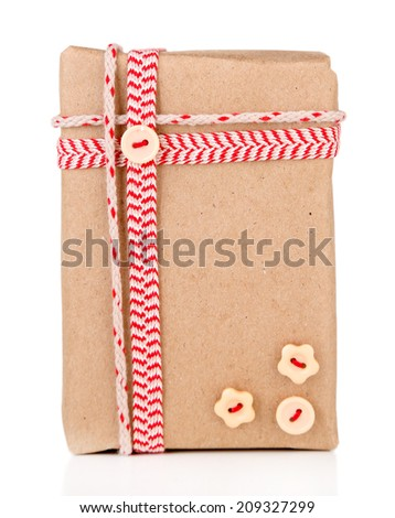 Cute gift box isolated on white - stock photo