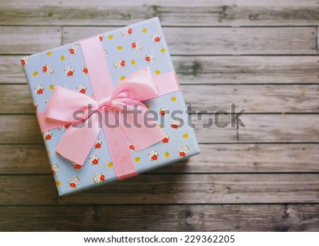 Cute gift box with retro filter effect - stock photo