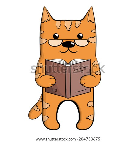 Cute ginger reading cat in glasses - stock photo