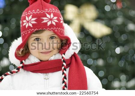 Cute girl and Christmas Tree - stock photo