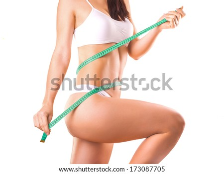 Cute Girl athlete on a white background - stock photo