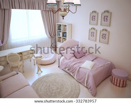 Cute Girl Bedroom Soft Furniture Pink Stock Illustration 332783957 ...