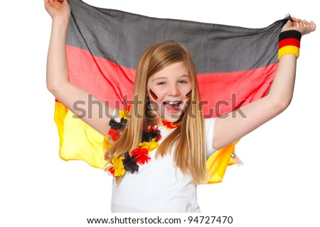 cute girl cheering with german flag for german team