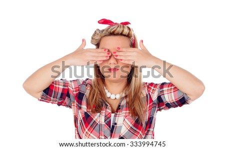 Cute girl covering her eyes in pinup style isolated on a white background - stock photo