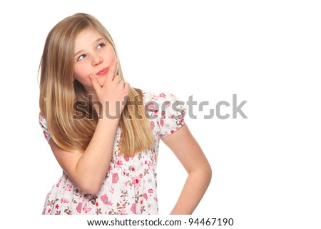 cute girl deep in thought looking away - stock photo