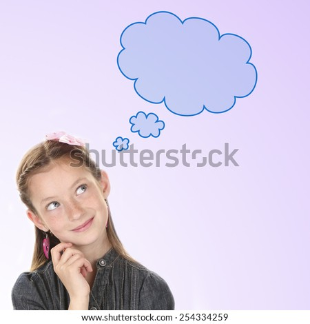 Cute girl dreaming on lilac background, text cloud with space for your text