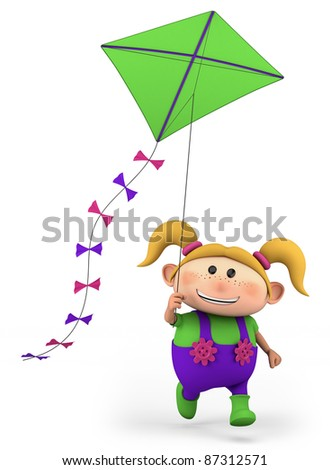 cute girl flying a kite - high quality 3d illustration - stock photo