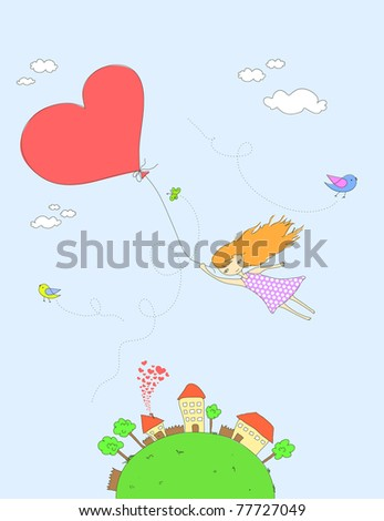 Cute girl flying with a heart shaped balloon.  For vector version see my portfolio. - stock photo