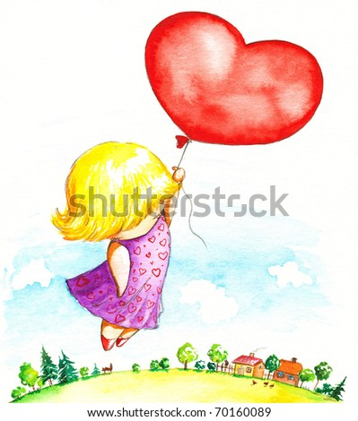 Cute girl flying with heart balloon.Picture I have created with watercolors.