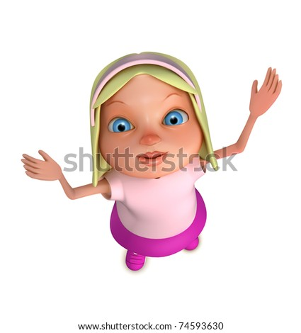 Cute girl from top view - stock photo