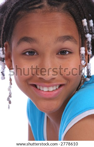 Cute girl headshot, isolated on white