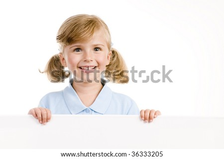 Cute girl holding a blank sign