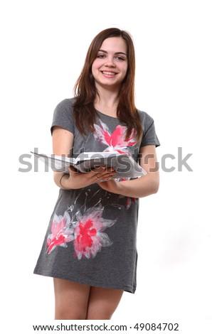 Cute Girl Holding Books and Magazine - stock photo