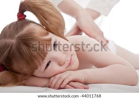 Cute girl in a hospital - stock photo