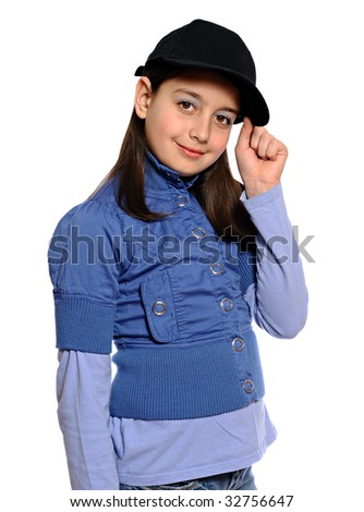 Cute girl in blue outfit and baseball cap