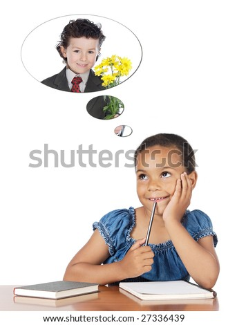 Cute girl in class thinking about her boyfriend isolated over white - stock photo