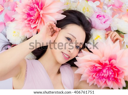 cute Girl in flower smile japanese style - stock photo