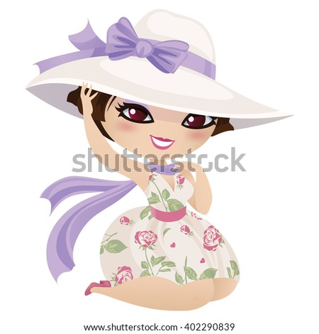 Cute girl in hat isolated on white background. Raster image. - stock photo