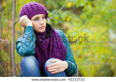 cute girl in scarf in cold weather