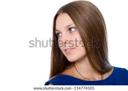 Cute girl looking at copy space or your text. - stock photo