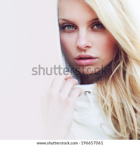 Cute girl looking at you - stock photo